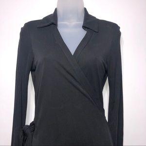 Diane Von Furstenberg Dresses - Diane Von Furstenburg Black Wrap Dress Size 8